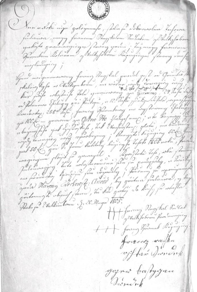 Smlouva mezi Francem Stejskalem a Francem Šrámkem, kolářem z Velkého Boru, na koupi pozemku pro stavbu chalupy s č. p. 70, z pozůstalostního spisu.
