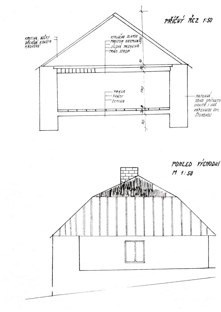 Východní pohled na rodný domek Sylvestra Krnky č. p. 70 ve Velkém Boru. U obrázku výš příčný řez obytnou částí domku.