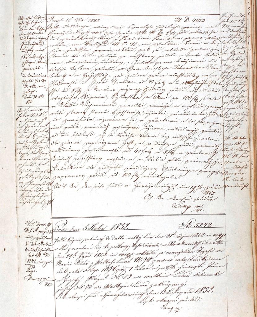 Kopie originálního zápisu v knize č. 1581, pag. 153.