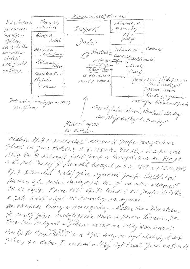 Vzpomínky na domek č. p. 70 od pana Františka Pojera. Drobné odchylky v posloupnostech a letopočtech nabývání vlastnictví nemají vliv na vysokou hodnotu výpovědi.
