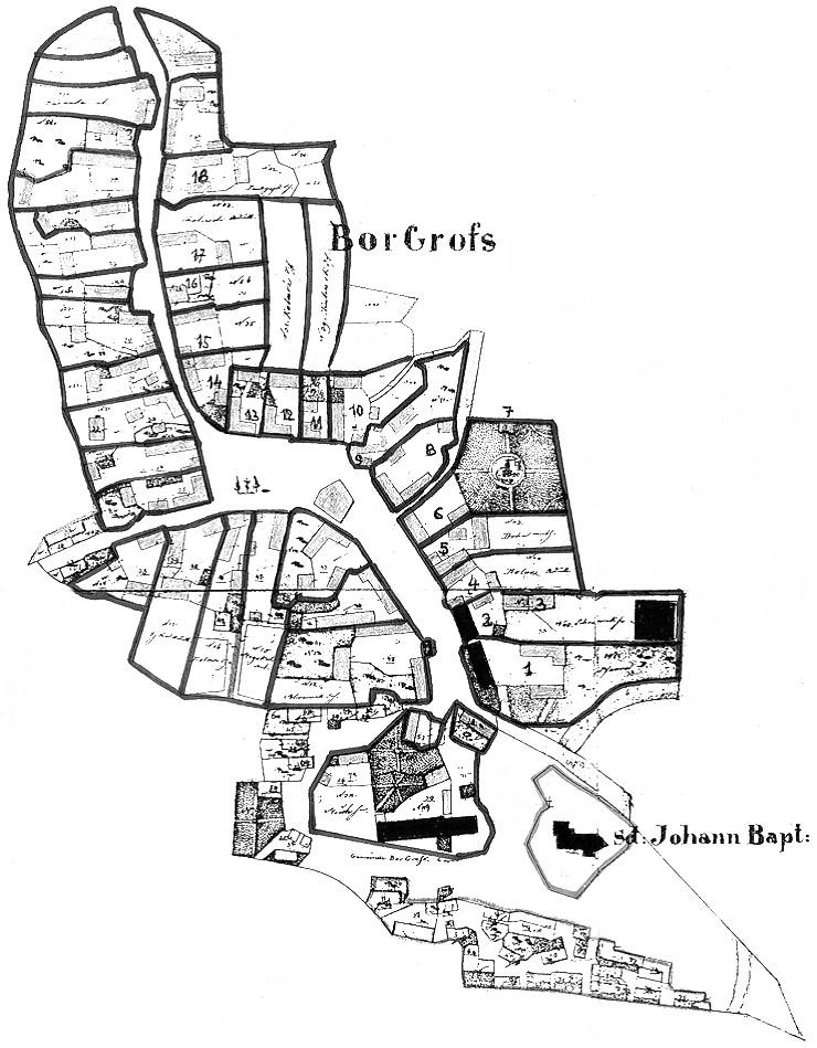 Plán stabilního katastru obce Velký Bor z roku 1834