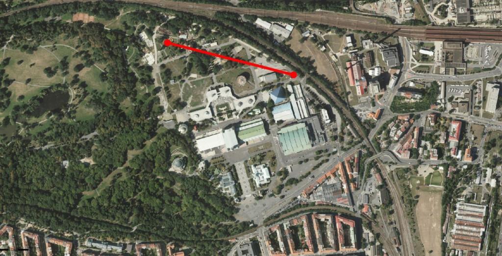 Mapa Výstaviště se zakreslenou rovinatou tratí o délce 500 m …