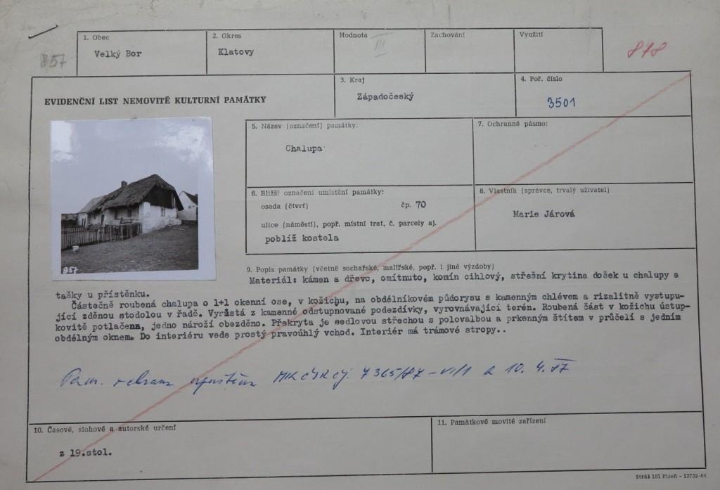 Evidenční list nemovité kulturní památky a rozhodnutí o upuštění od památkové ochrany objektu z 10. dubna 1987.