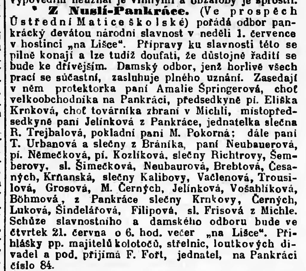 Výsek z dobového tisku Národní politika ze dne 19. 6. 1894  (pořízeno ze systému Kramerius Národní knihovny)